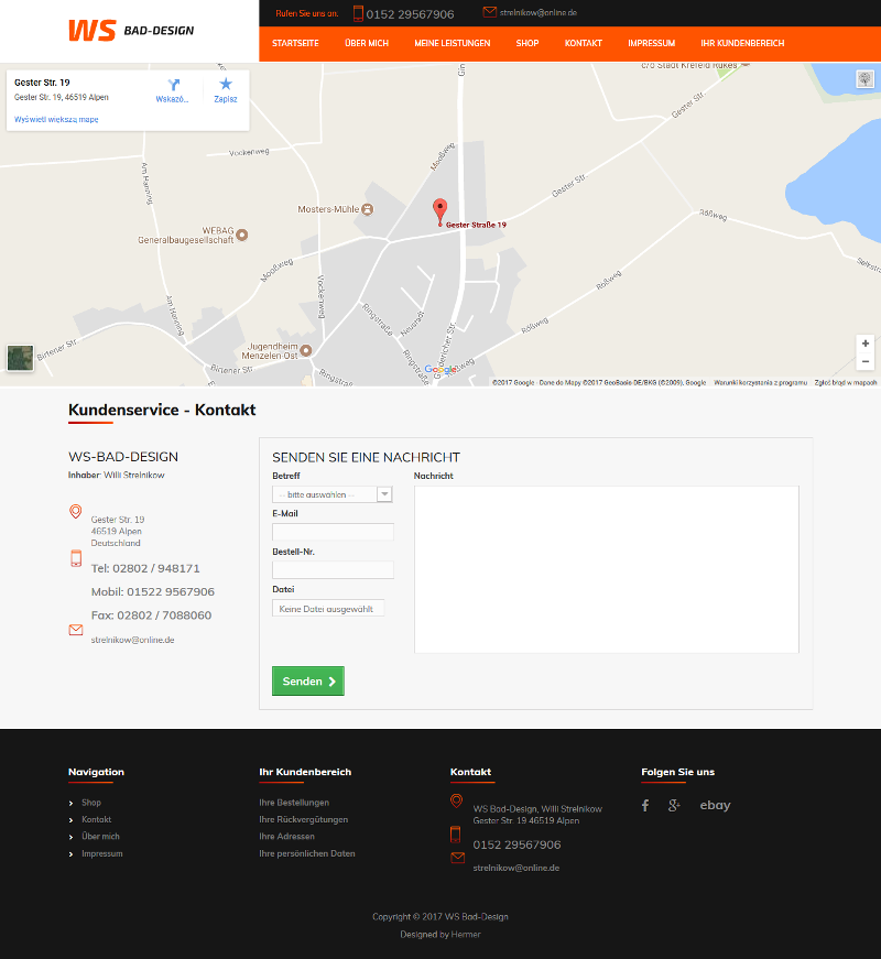 Online-Shop der Firma WS Bad-Design